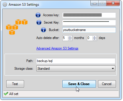 Amazon S3 Settings