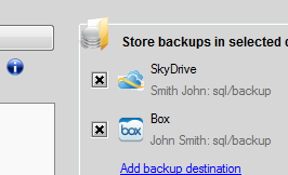 Backup SQL databases to SkyDrive or Box clouds with SQLBackupAndFTP